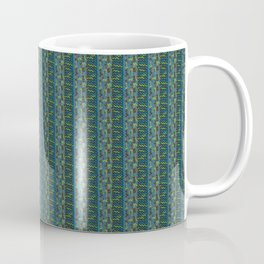 Neon Blues and Greens Knit Pattern Coffee Mug