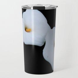 Three Calla Lilies Isolated On A Black Background Travel Mug