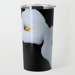 Three Calla Lilies Isolated On A Black Background Travel Mug