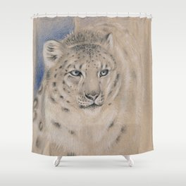 Snow Leopard Ghost Graphite Colored Pencil Drawing Shower Curtain