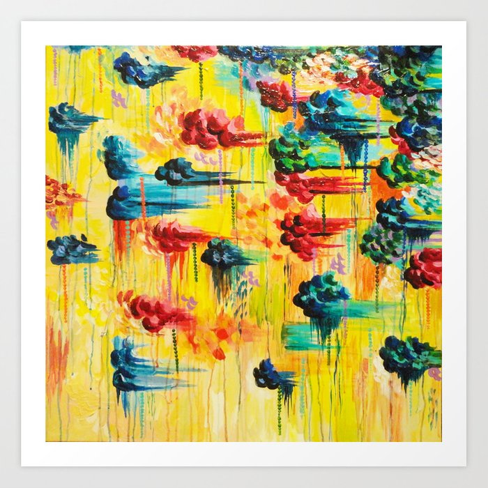Here Comes The Rain Abstract Acrylic Painting Rain Storm Clouds Colorful Rainbow Modern Impasto Art Print By Ebiemporium Society6