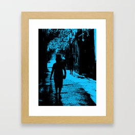Blue party in the village Framed Art Print