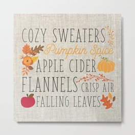 Fall Feelings, linen Metal Print