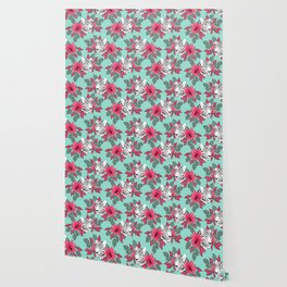 Stylish leopard and cactus flower pattern Wallpaper