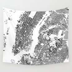 New York Map Schwarzplan Only Buildings Wall Tapestry