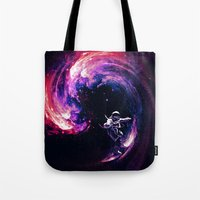 surfing Tote Bags featuring Space Surfing by nicebleed
