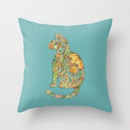 Calico Cat Blue Throw Pillow