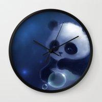 panda Wall Clocks featuring Panda by apofiss