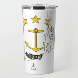 Rhode Island Map with State Flag Travel Mug