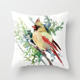 Cardinal Bird Artwork, female cardinal bird Throw Pillow