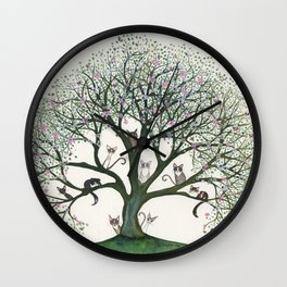 Pink Cheri Whimsical Cats in Tree Wall Clock