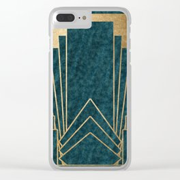 Art Deco glamour - teal and gold Clear iPhone Case