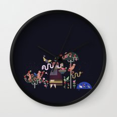 Monkeys and fruits Wall Clock