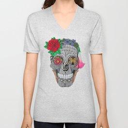 Lady Skull ready to party Unisex V-Neck