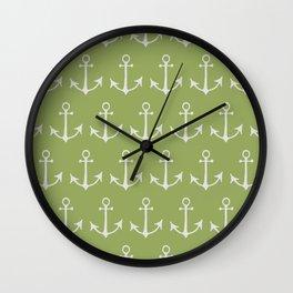Nautical Anchors (Boat Anchors) - Green Gray Wall Clock
