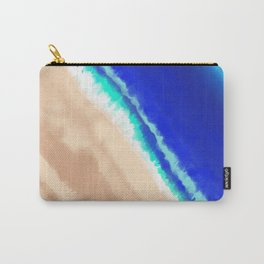 Artsy Modern Blue Teal Sandy Beach Watercolor Carry-All Pouch
