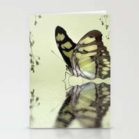 malachite Stationery Cards featuring Malachite reflection by Lyn Evans