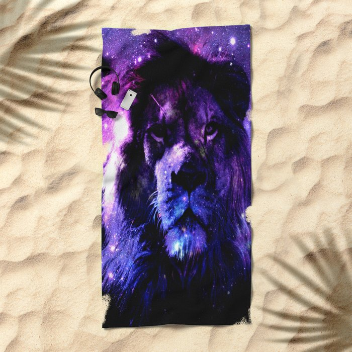Lion leo purple Beach Towel
