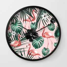 Tropical Flamingo Flower Jungle #4 #tropical #decor #art #society6 Wall Clock