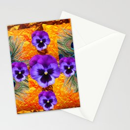 PURPLE PANSY GREEN PEACOCK  FEATHERS ON GOLD-PURPLE Stationery Cards