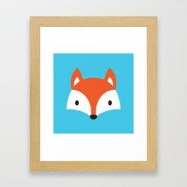 Cute Fox / Blue / Orange Framed Art Print