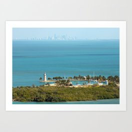 Boca Chita Key and The Miami Skyline Art Print