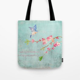 My favorite weather - Romantic Birds Cherryblossoms and Spring Typography on teal Tote Bag