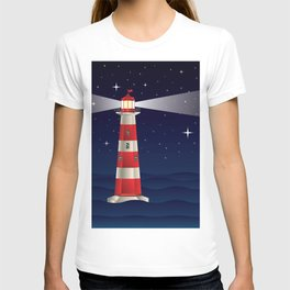 Cartoon landscape with lighthouse night sea and starry sky T-shirt