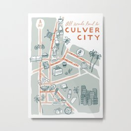 Culver City in Los Angeles County California Doodle Map Metal Print
