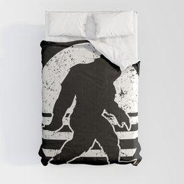 Retro Bigfoot Sasquatch Silhouette Cartoon Comforters
