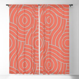 Pantone Living Coral & Storm Gray Circle Swirl Pattern Blackout Curtain