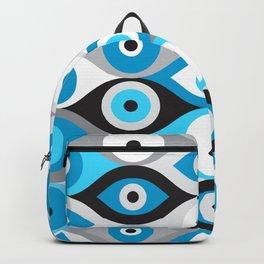 Greek Evil Eye pattern Blues and Greys Backpack