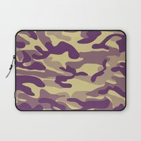 military Laptop Sleeves featuring Purple Military Camouflage Pattern by SW Creation