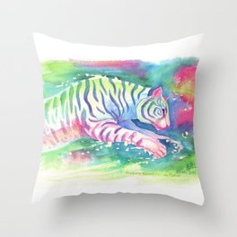 Jumping Tiger Throw Pillow