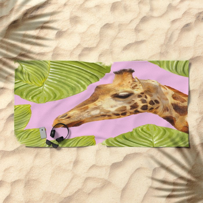 Giraffe with green leaves on a pink background Beach Towel