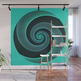 Mint Swirl Blue & Black Spiral Modern Pattern Design Wall Mural