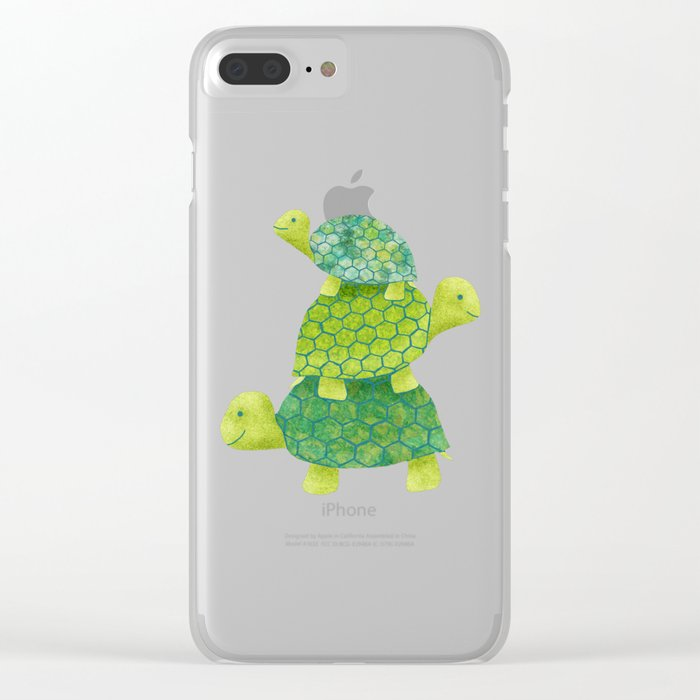 Turtle Stack Family in Teal and Lime Green Clear iPhone Case