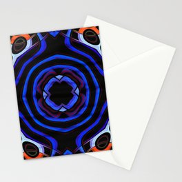 Orange blue ornament flower lines Stationery Cards