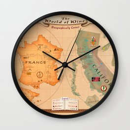 World of Wine Map Wall Clock