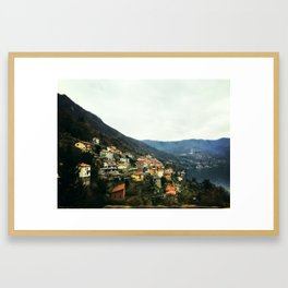 Mountain Village Lake Village Framed Art Print