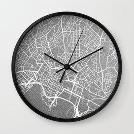 Silver Oslo map Wall Clock