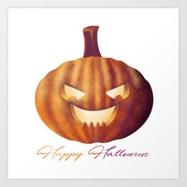 Happy Halloween Pumpkin Lantern Art Print