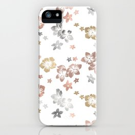 Rose Gold Copper Bronze Tropical Flowers Multi Metallic iPhone Case