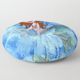 the redhead mermaid Floor Pillow