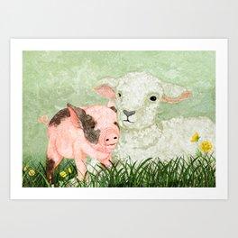 Lamb and Piglet Art Print