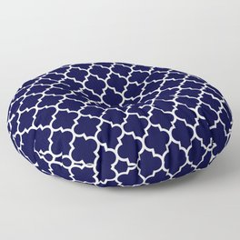 White Moroccan Quatrefoil On Navy Blue Floor Pillow