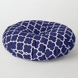 White Moroccan Quatrefoil On Navy Blue Floor Pillow