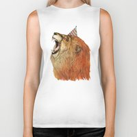 lion Biker Tanks featuring Birthday Lion by Sandra Dieckmann