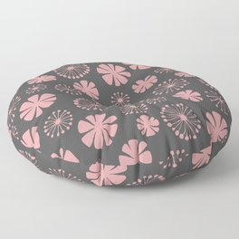 Floral Pattern - pale pink, charcoal gray Floor Pillow