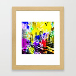building of the hotel and casino at Las Vegas, USA with blue yellow red green purple painting abstra Framed Art Print